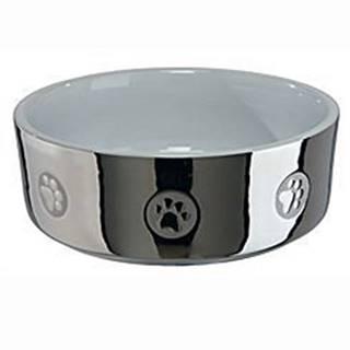 Miska keramická pes stříbrná s tlapkou 1,5l 19cm TR&