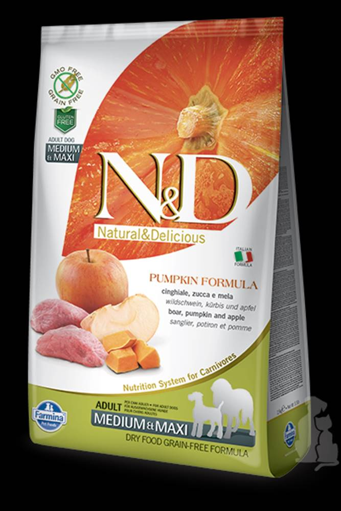 N&D N&D GF Pumpkin DOG Adult M/L Boar & Apple 12kg