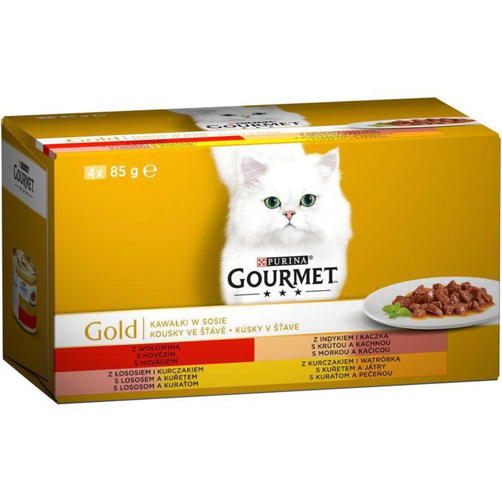 Gourme gold PURINA GG  KOUSKY ve štávě konzerva - 4 x 85g