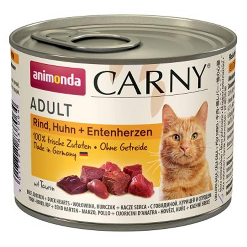 Animonda ANIMONDA cat konzerva CARNY hovädzie / kura / kačacie srdce - 200g