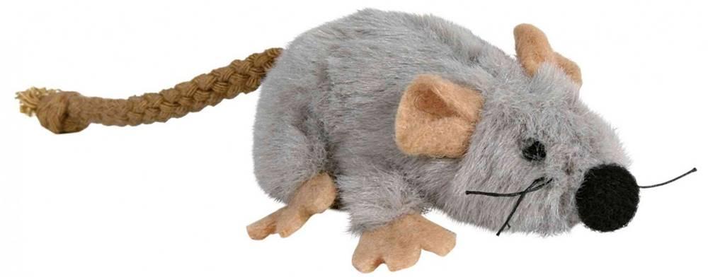 Trixie HRAČKA plyšová MYŠKA šedá s catnipem - 7cm