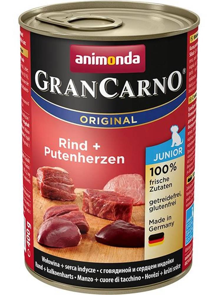 Animonda Animonda dog konzerva Gran Carno Junior hovädzie / morčacie srdcia - 400g