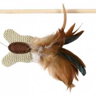 HRAČKA Udice s jutovým motýlikom s perím a catnipom - 45cm