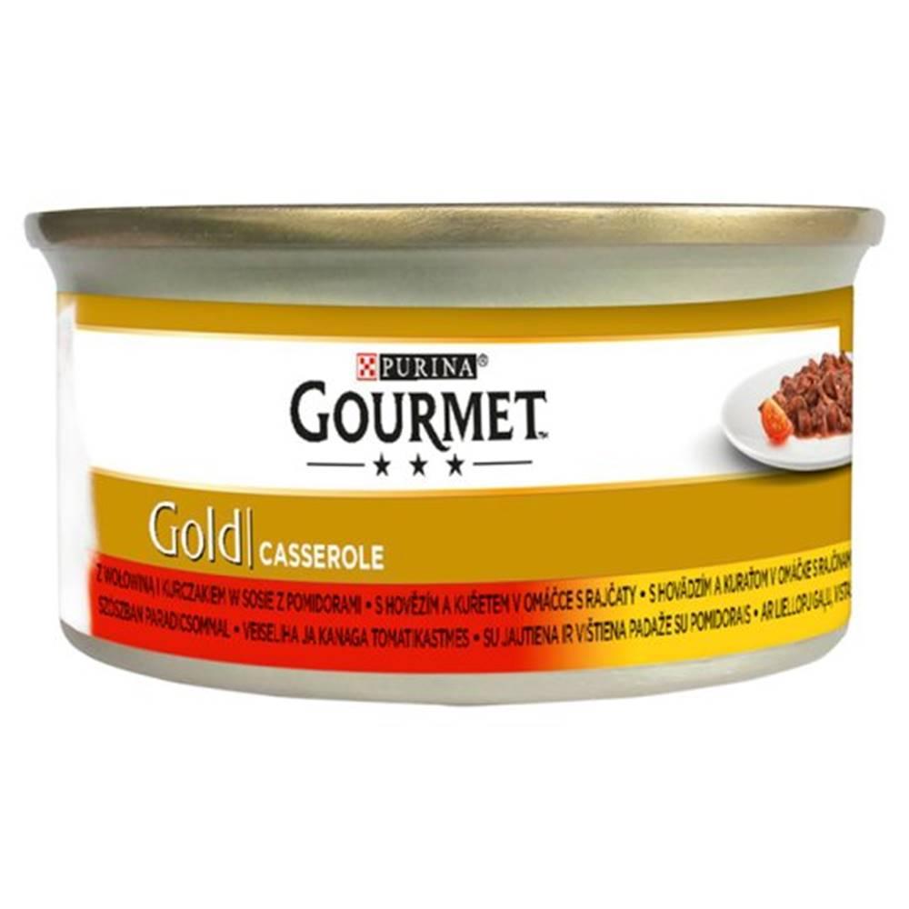 Gourme gold PURINA GG CASSEROLE hovězí/kuře v rajč. omáčce konzerva - 85g