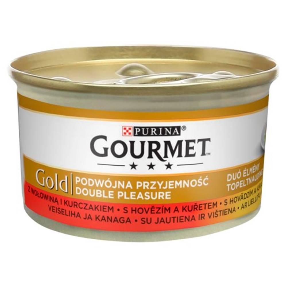Gourme gold PURINA GG double pleasure HOVĚZÍ/KUŘE konzerva - 85g