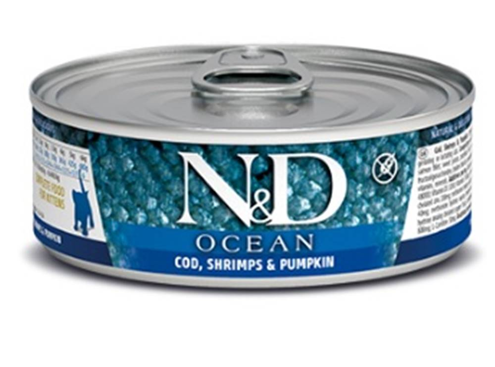 Natural&Delicious N&D cat  konz.  KITTEN OCEAN TUNA,COD,SHRIMP/PUMPKIN - 12 x 80g