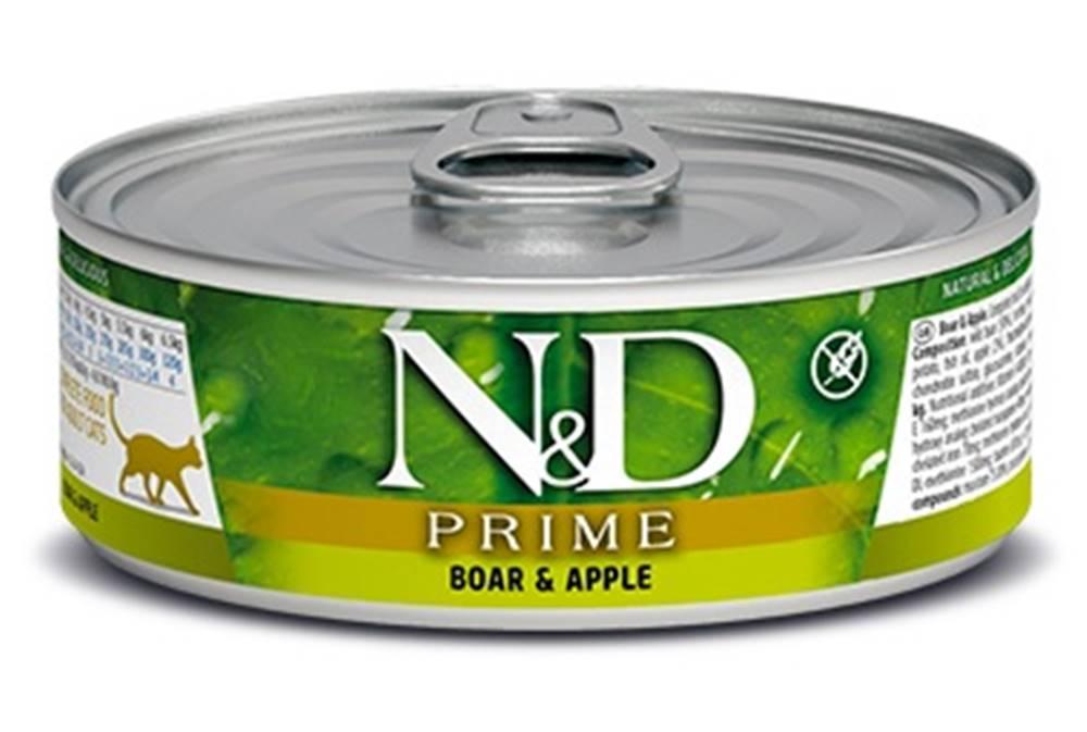 Natural&Delicious N&D cat  konz. PRIME BOAR/APPLE - 12 x 80g