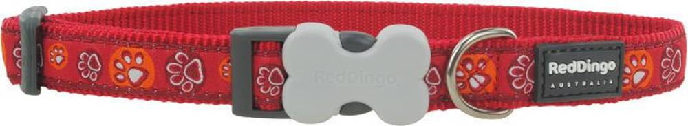 Red-dingo Obojok RD PAW impressions RED - 1,2/20-32cm