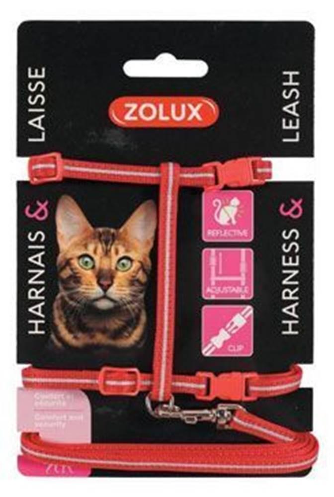 Zolux Postroj mačka s vodítkom 1,2m červený Zolux