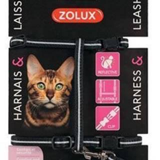 Postroj mačka s vodítkom 1,2m čierny Zolux