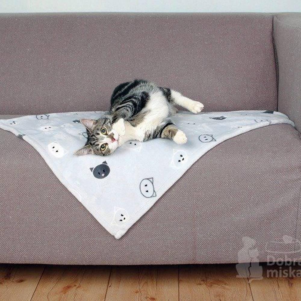 Trixie Deka pro kočky MIMI šedá s kočičími hlavami 70x50cm TR
