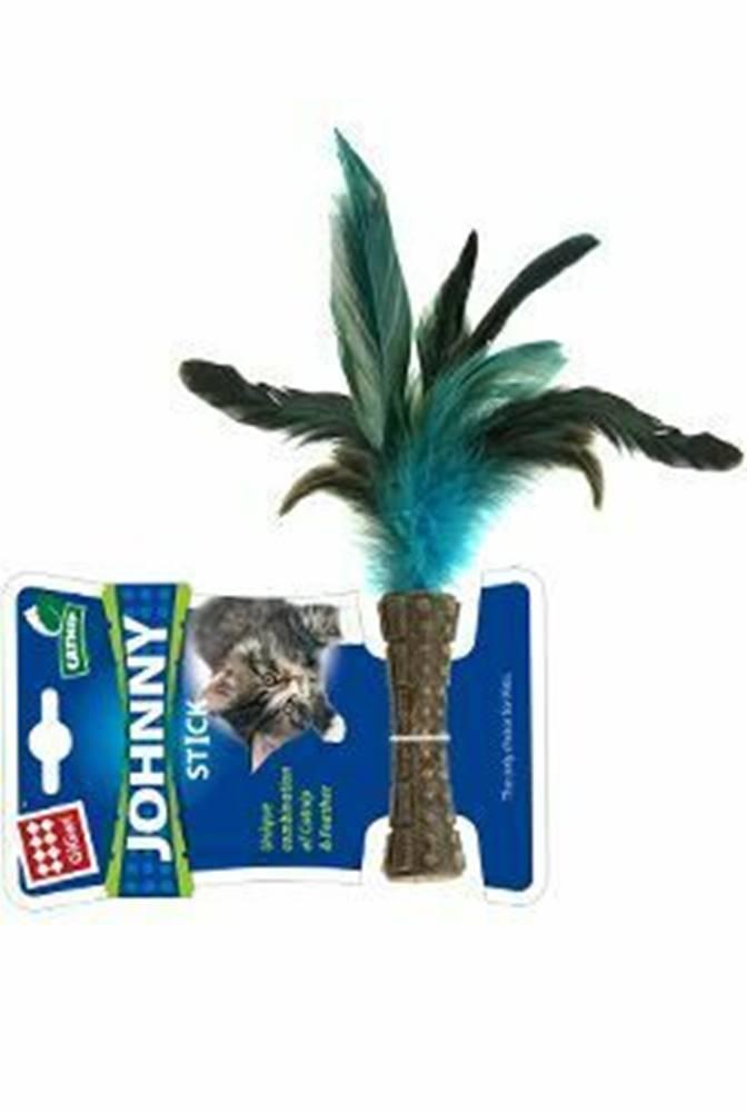 GiGwi Hračka mačka GiGwi Johnny Stick Catnip s modrými peria