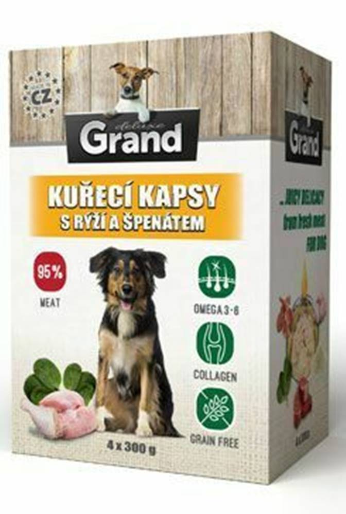 Grand GRAND kaps. deluxe pes kuracie s ryžou a špenát. 4x300g