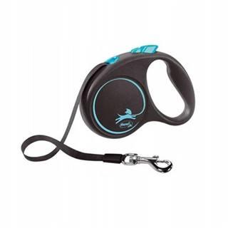 FLEXI Vodítko Black Design M pásik 5 m modrý