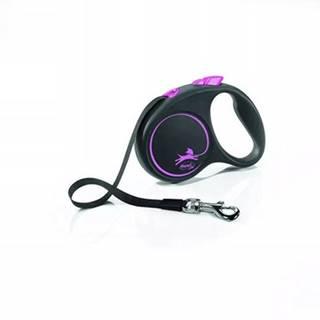 FLEXI Vodítko Black Design S pásik 5 m ružový