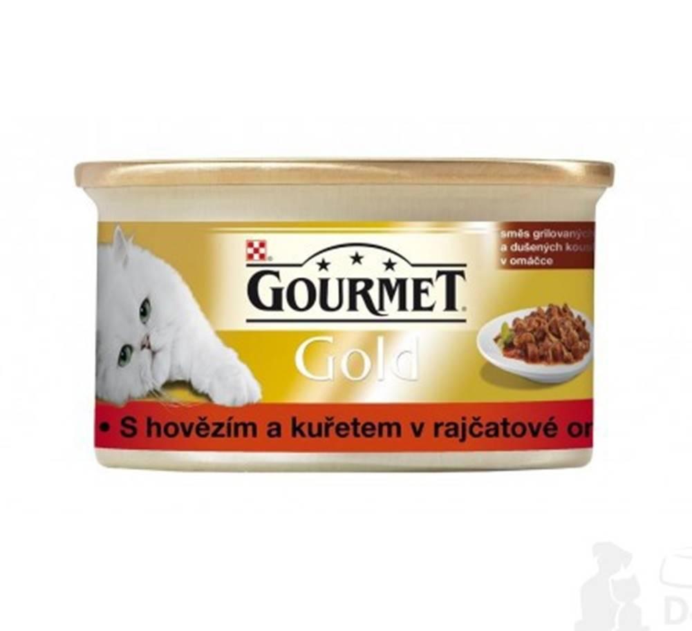 Gourmet Gourmet Gold konz. kočka hov.a kuře v rajč.om.85g