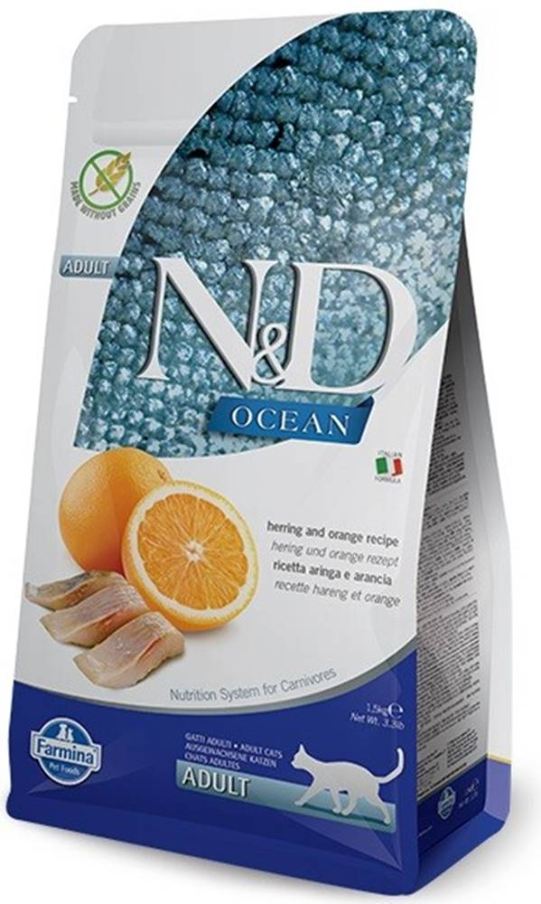 N&D (Farmina Pet Foods) N&D OCEAN CAT Adult Herring & Orange 1,5kg